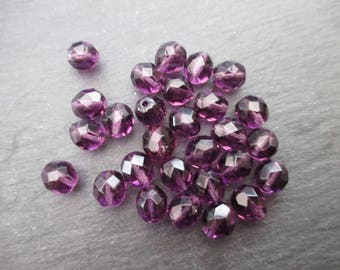 Facets of Bohemia 8 mm: 10 beads Lilac purple