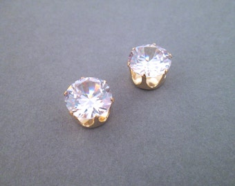 Large 12mm Cubic Zirconia in 14k gold plated settings, pick your amount