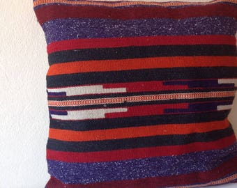 Vintage Turkish Pillow, Kilim Pillow, Kilim Pillow Case, Pillow Cover, Accent Pillow, Striped Design, Gift for Her, Kilim Pillow Cover, Home