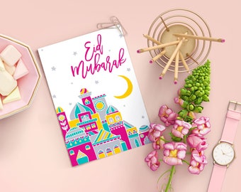 Eid Mubarak Card | Eid Greeting Card, Eid card, Islamic Greeting Card. Muslim Holiday Card. Islamic greeting card, Eid gift, Modern Eid Card