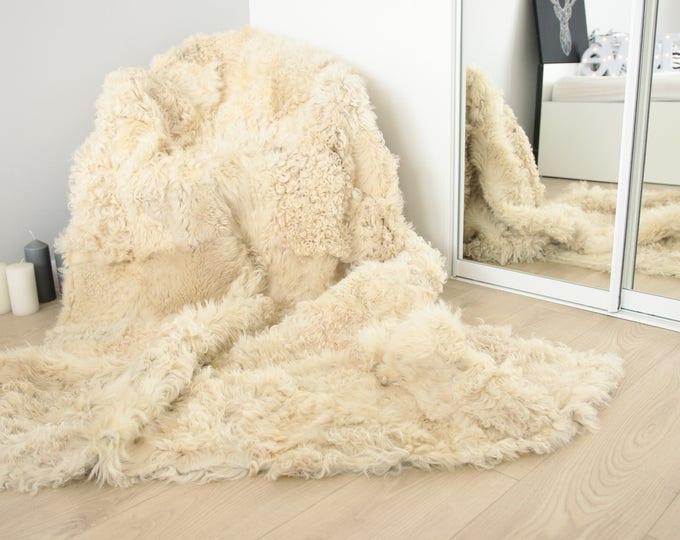 Luxury Gotland Sheepskin Real Fur Throw | Real Fur Blanket | Beige Fur Throw 200x 160cm