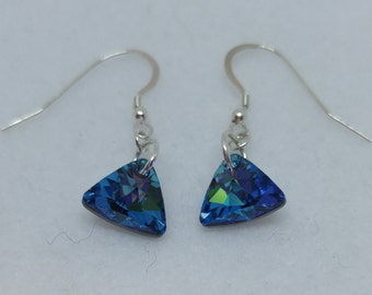 Sterling Silver Swarovski Bermuda Blue Triangle Earrings