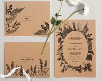 The Vintage Garden / Kraft Paper Wedding Invitation Package / Printable PDF Templates / Digital Download