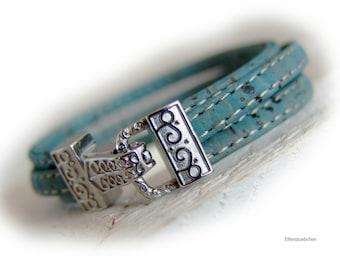 Damen Armband vegan Kork blau hell petrol silber Edelstahl -  Korkarmband Damen  - Geschenk für sie Mutter Ehefrau Freundin veganer Schmuck