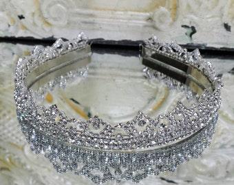 Silver Rhinestone Chain Tiara; Tiara Headband; Bridal Crown; Bridal Tiara; Tiara for Prom; Queen Tiara; Rhinestone Tiara for Brides