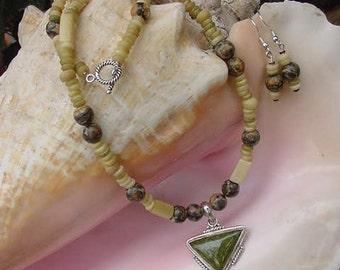 Sterling Green Jasper Pendant on Leopard Jasper, Bone Necklace and Earring Set S209
