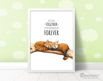 """Red Panda baby Nursery Print """"Born together, friends forever"""" gender neutral baby art gift for twins, red panda baby shower new baby gift"""