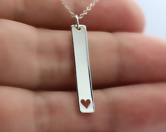 HEART NECKLACE - 925 Sterling Silver - Heart Charm Love Family Wife Husband GF