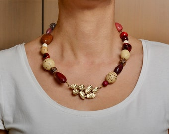 Tagua nut necklace, garnet necklace, bib necklace, vegetable ivory, wire choker, brutalist necklace, gift under 40, chunky jewelry