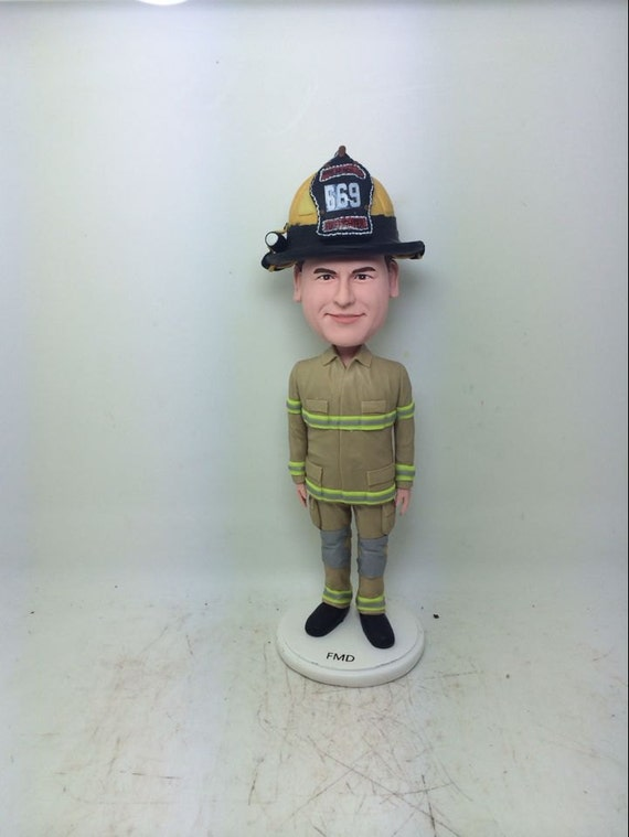 Firefighter Bobble Head Personalized Fireman Gift Clay