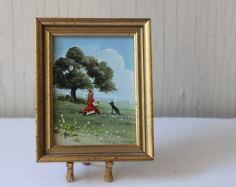 Original Vivian Hollan Swain, Miniature Oil Painting, Original Art, Little Girl with Her Dog