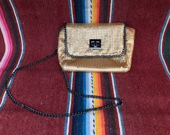 BCBG Gold Mesh Chain Evening Bag