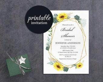 Fall Floral Bridal Shower Invitation Printable Sunflower bridal shower Invite rustic summer geometric Succulent Sunflower Invitation