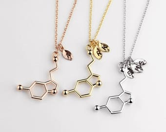 Personalized Initial Necklace Serotonin Molecule Pendant Necklace Science Statement Jewelry Best Selling Inspiration Gift for Her - RMSN-L *