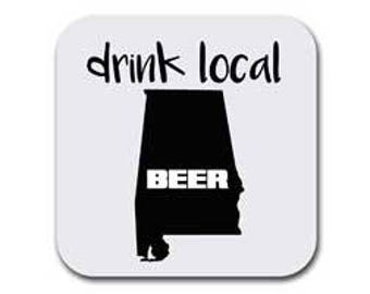 Alabama State Map Coaster Set - Drink Local - Six (6) Table Drink Coasters - Absorbent | Furniture Safe - Decor Gifts - Quality Neoprene
