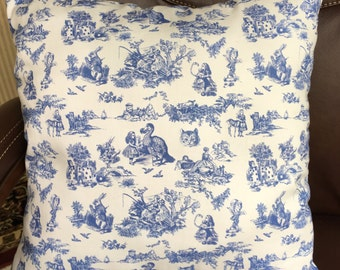 Adventures in Wonderland, Alice and all of her friends in a toile de jou pattern in blue and white. 16 by 16 inches