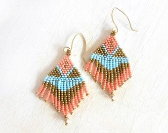 Boho Style Beaded Earrings, Beadwoven Earrings, Native American Style Earrings with Fringe, Seed Bead Earrings With Fringe, by Durango Rose