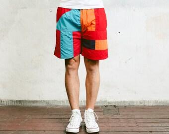 Bold Beach Shorts . Vintage 90s Swim Shorts Swim Trunks Bold Surfer Shorts Colorblock Swimwear Beachwear . size Medium M