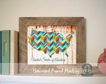 United States of America - Reclaimed Barnwood Framed Print - Ready to Hang - Sizes at Dropdown