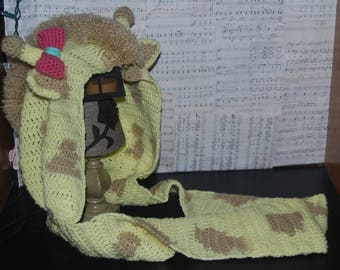 Giraffe Scoofie, Hooded Scarf with pockets, with or without a bow