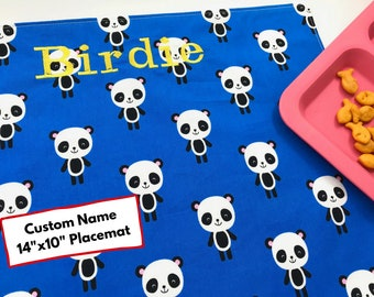 Personalized Gift Placemat, Panda Bear Placemat, Cotton Placemat For Children, Waste Free Lunch, Fabric Placemat, Personalised Name For Kids