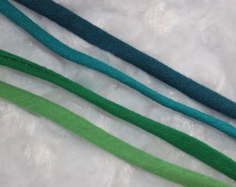 "10 yards Dark Light Teal Emerald Lime Green Spaghetti Strap Tube tubular hollow tshirt knit minimal Stretch Cord cording 1/4"" wide"