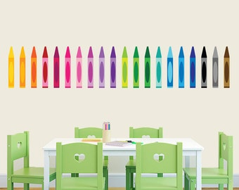 Crayons - Nursery Kid's Room Playroom Classroom Printed Wall Decal