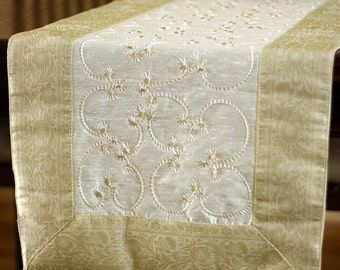 Hand Embroidered 120-Inch by 17-Inch Long Table Runner (Beige)