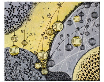 Yellow and Gray Abstract Wall Art Painting on Canvas - Small 24x20