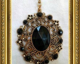 Vintage Ceiling Fan Pull Chain / Home Decor - Gold Link Chain - Gold & Black Vintage Pendant