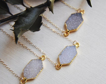 Small Druzy Necklace, Druzy Necklace, Gold Druzy Necklace, Gifts for Her, Gifts for Mom, Bridesmaids Gift, Minimalist Necklace, Boho Bride