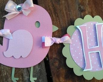 Pink and Green Birthday banner, Girls birthday banner, bird banner, turtle banner