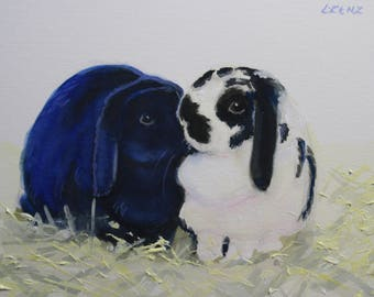 Original Watercolor Painting, Art, Bunnies, Rabbits, Farmyard Critters