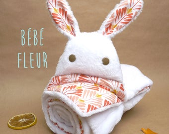 Baby blanket, baby blanket, baby gift, orange and yellow art deco pattern