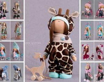 Giraffe doll Handmade doll Tilda doll Interior doll Brown doll Textile doll Soft doll Fabric doll Cloth doll Rag doll Art doll by Alena R
