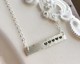 Bar Necklace . Heart Necklace . Mother Necklace . Gift For Mom . Stamped Heart . Love Necklace . Handmade Jewelry