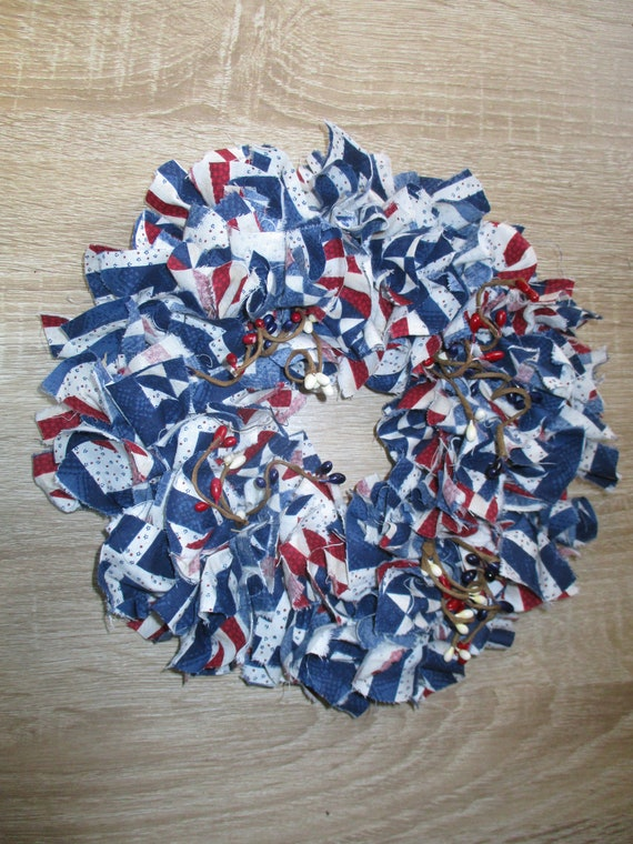 Primitive Americana Rag Tie Wreath