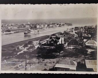 Original Antique Photograph Ship Coming into Port