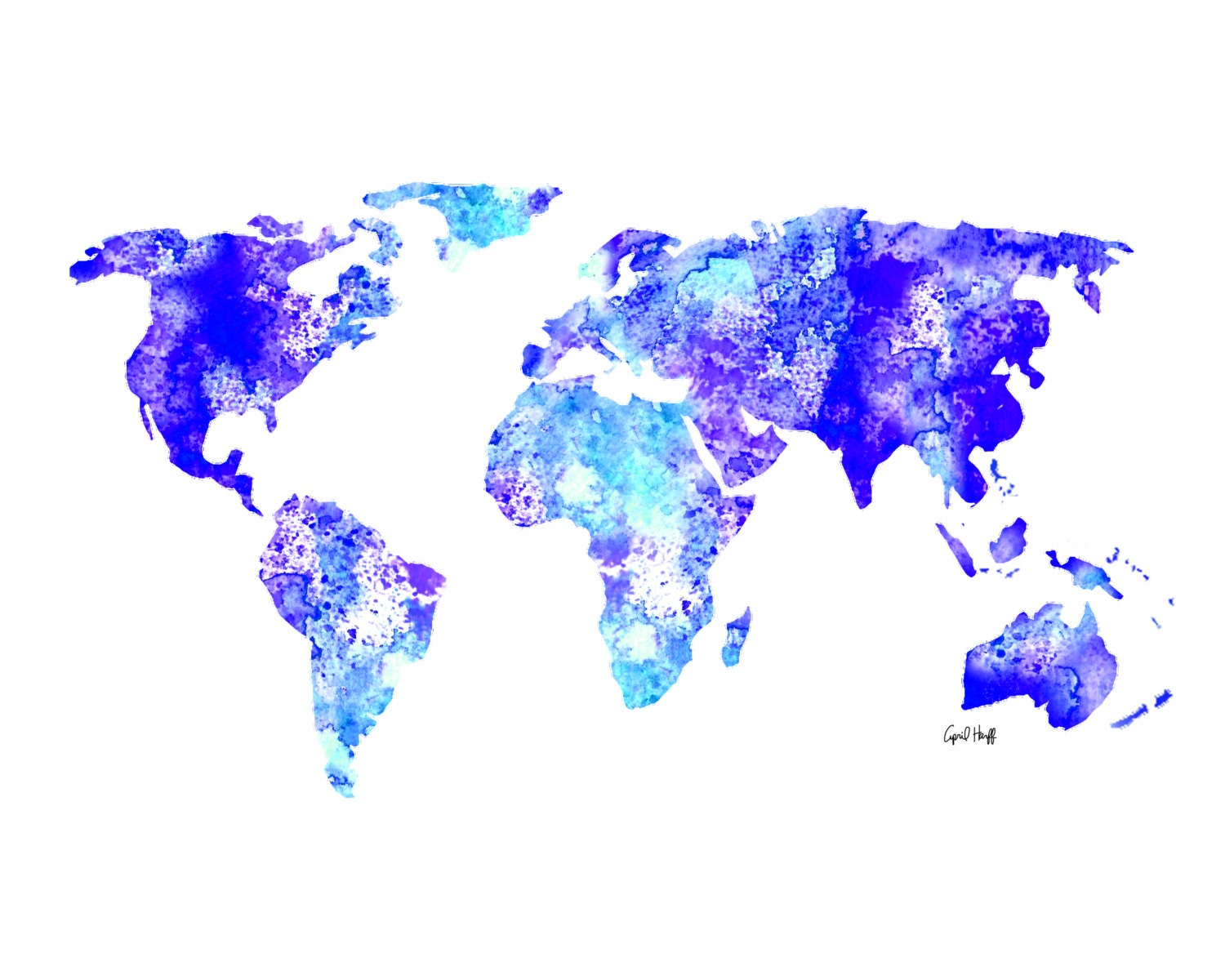 Watercolor world map print wall art painting illustration zoom gumiabroncs Image collections