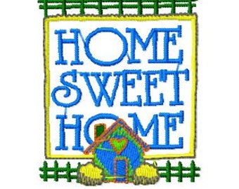 Home Sweet Home, Machine Embroidery Design, 4x4 Hoop size, PES format and more