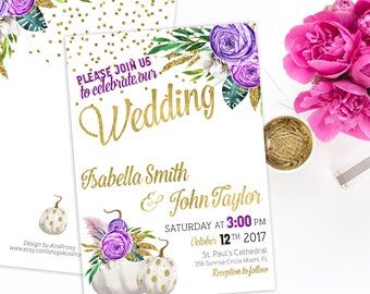 Wedding Invitation Printable pumpkin Wedding Glitter Confetti Gold plum Wedding Purple Fall Wedding Invitation instant download idw2