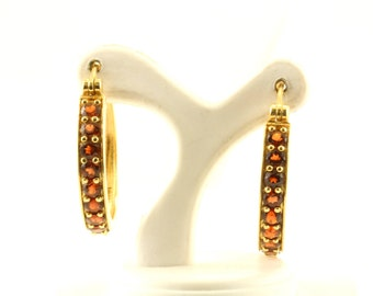 Vintage Red Crystals Hoop Earrings 925 Sterling Silver ER 362