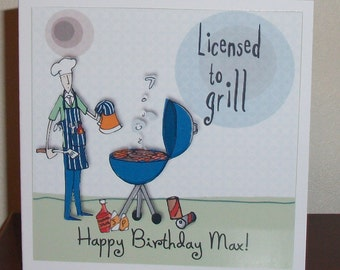 Funny male birthday card burnt to perfection bloke card male humourous male birthday card bloke at movies licensed to grill male birthday card bookmarktalkfo Images