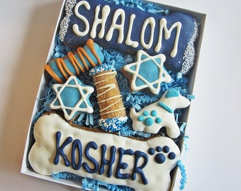 Happy Bark Mitzvah Dog Treat Assortment - Iced Dog Treats, Iced Treats, Bar Mitzvah Dog Treats, Peanut Butter Dog Treats, All Natural Treats