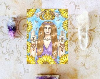 Pagan Goddess Art Bee Priestess Prayer Card Bee Art Greek Fantasy Art Mystical Art Divine Feminine Sacred Spiritual Art Mythology