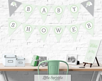 Elephant Baby Shower Bunting Banner Mint Green  / Gender Neutral Shower Decoration / Elephant Banner / Printable Digital / INSTANT DOWNLOAD