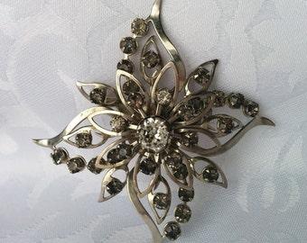 Vintage Silver Tone Brooch Grey Crystals, Flower