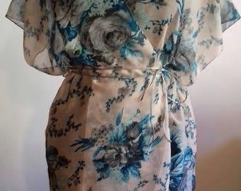 Kimono,light,Short Sleeve,Wrap Tunic,Turquoise, Floral,Cover-up,Cardigan,Jacket,Tunic,Boho,Ethnic,