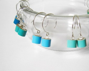 Color Pencil Earrings In Sterling Silver, The Green And Blue Series Pencil Jewelry Handmade In England