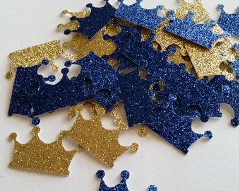 Royal Prince Baby Shower, Royal Decorations, Royal Blue and Gold Crown Prince Confetti, Crown, Prince Crown, Baby Crown, Prince Baby Shower